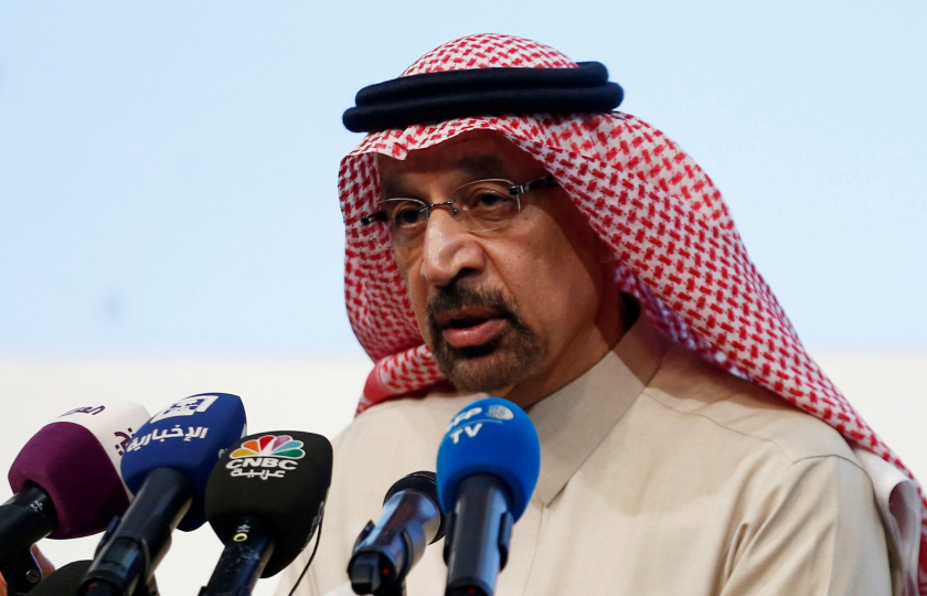 FILE PHOTO: Saudi Energy Minister Khalid al-Falih speaks during a news conference in Riyadh, Saudi Arabia January 9, 2019. REUTERS/Faisal Al Nasser/File Photo - RC1A3D2553C0